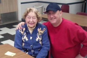 Me with Rosie, Shayna's favorite Senior Center member.  Shayna and Rosie have absolutely fallen in love. See pictures of the two of them here.